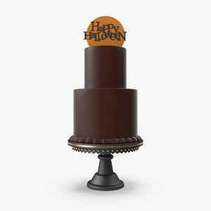 Halloween Cake with Happy Halloween Topper 3D model