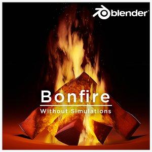 3D Animated Bonfire for Blender without Simulations model