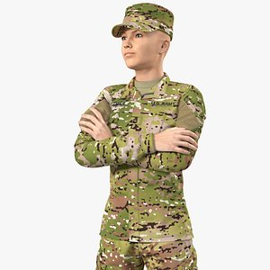 Female Soldier Military Camouflage Suit 3D model