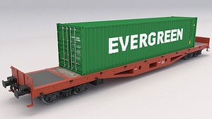 Flat Rail Car Evergreen Shipping Container model