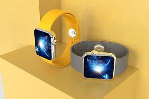 Electronic watch clock timer pedometer Swiss 3D