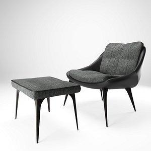 3D modloft chair ottoman model