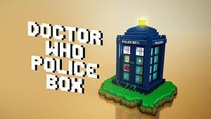 3D model Doctor who police box tardis voxel