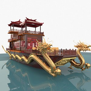 chinese house boat 3D model