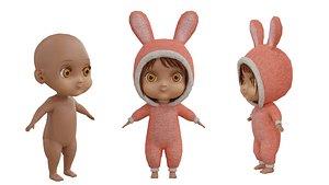 3D baby girl cartoon model