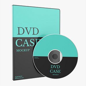 3D DVD case closed with disc mockup