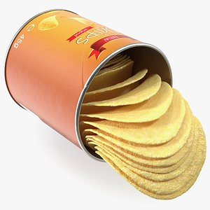 Opened Potato Chips Small Can 3D model