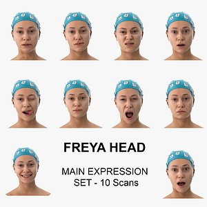 Freya Clean Scans Main Expression Set - 10 poses Collection 3D model