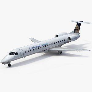 3D Embraer ERJ145 Regional Jet Continental Express model