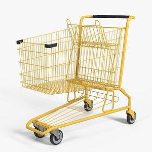 Yellow Shopping Cart 3D model