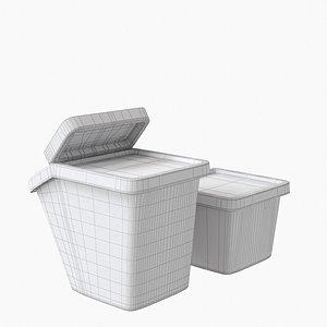 Sortera Ikea Recycling bin with lid white boxes 3D model