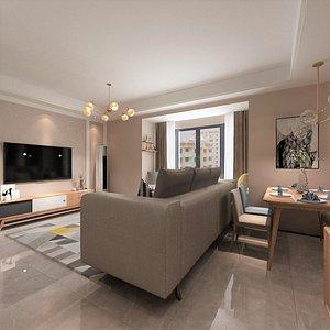 3D model compact living-dining room hybrid