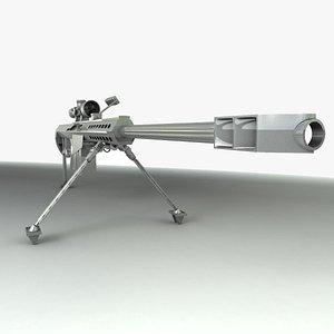 3D Sniper Rifle Barrett .50 cal model