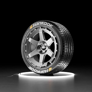 Car wheel Hankook Ventus S1 tire with Rotiform KB1 rim 3D model