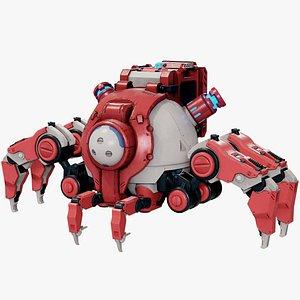 3D Sci-Fi Walker Robot Lowpoly PBR model