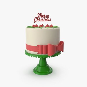 3D New Year Cake with Topper Merry Cristmas