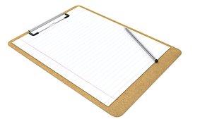 3D model board paper pen