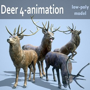Deer 4-animation pbr Low-poly 3D model