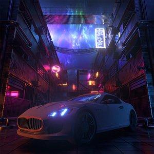 3D Super Sport Car In Synthwave Neon Street