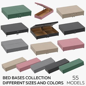3D Bed Bases Collection - Different Sizes and Colors