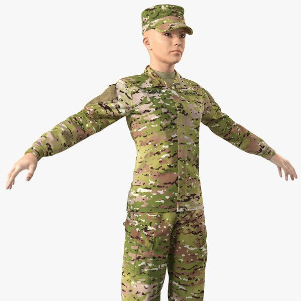 3D female soldier camouflage neutral model