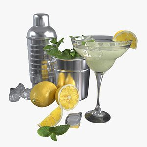 3D Cocktail with lemon and mint
