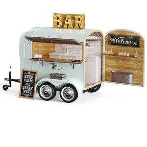 3D food truck bar