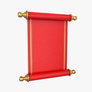 3D scroll roll red model
