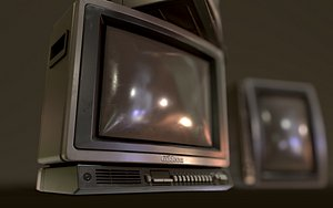 3D Retro Television from 80s Low-poly game-ready