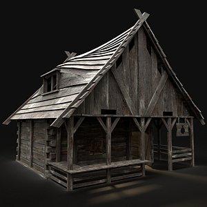 3D medieval shop stall