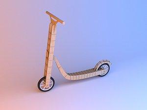 Parametric handmade wood scooter 3D model