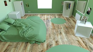 child bedroom  child room Interior 1 room bedding bed living scene interior design concep 3D model
