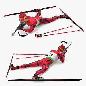3D model Biathlete Fully Equipped Shooting Pose
