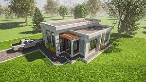 3 Bedroom Flat Roofed Bungalow 3D model