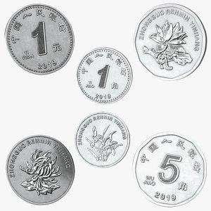 3D China Coins Set model