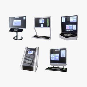 3D minimalistic computers sets