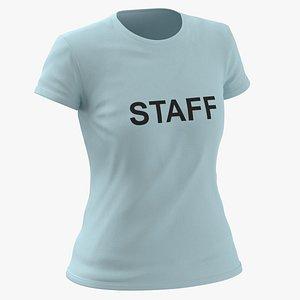 Female Crew Neck Worn Blue Staff 02 3D model