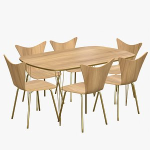 3D Dining Table 6 Seater Modern