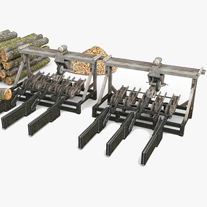 Modern scene logging machine logging yard 3D model