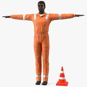 3D african american road worker