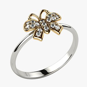 3D model Low Weight Butterfly Gold Ring