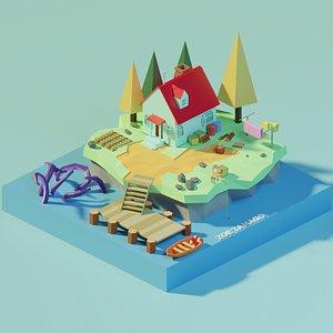 3D isometric house island model
