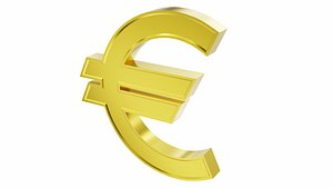 3D model Euro currency sign