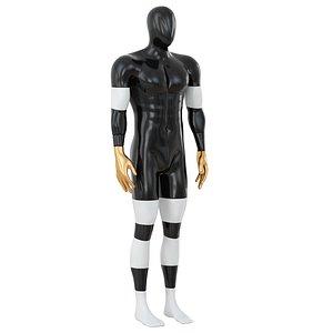 3D male sports mannequin black