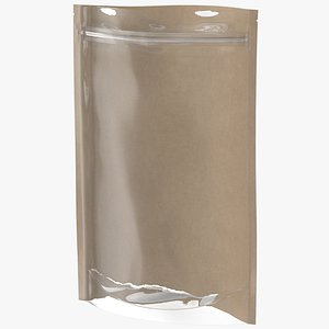 3D Zipper Kraft Paper Bag with Transparent Front 220 g Open Mockup model
