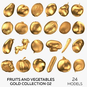 Fruits and Vegetables Gold Collection 02 - 24 models 3D model