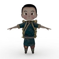 Boy with Basket Rigged and Animated