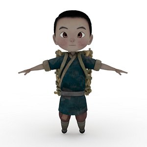 Boy with Basket Rigged and Animated model