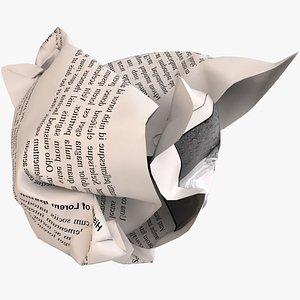crumpled ball paper print 3D