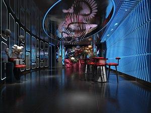 3D Atrium hanging lounge area technology sense cinema mall